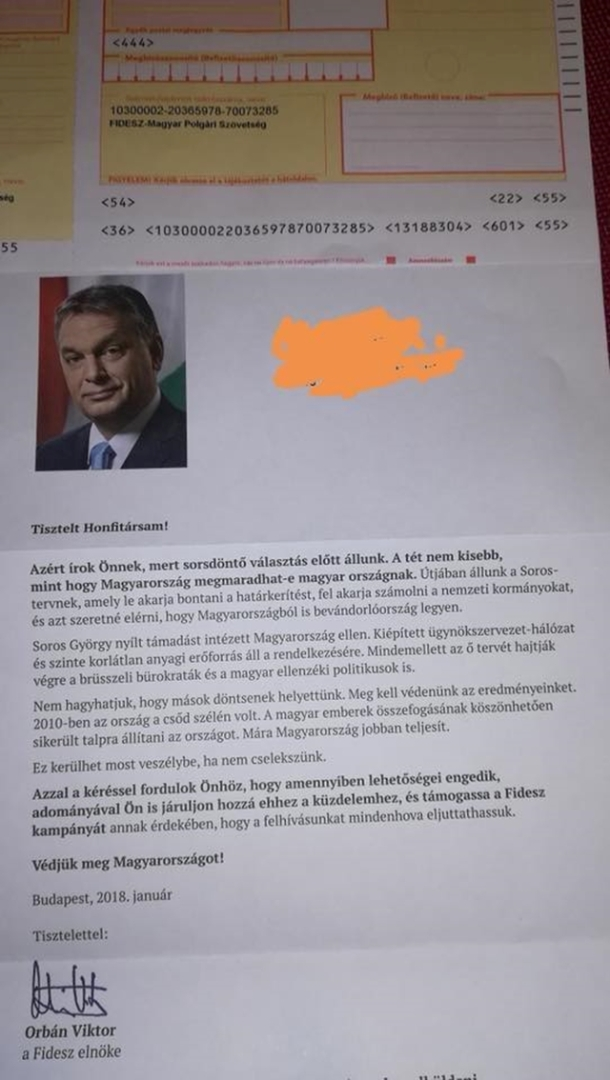 orbán letter donation
