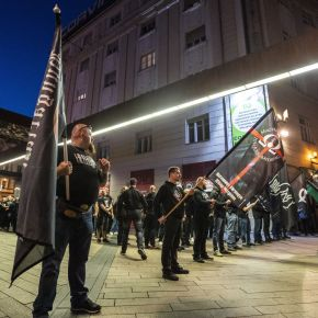 Neonazis attack a pub run by Jews, burn rainbow flag, march on Budapest's streets on a public holiday