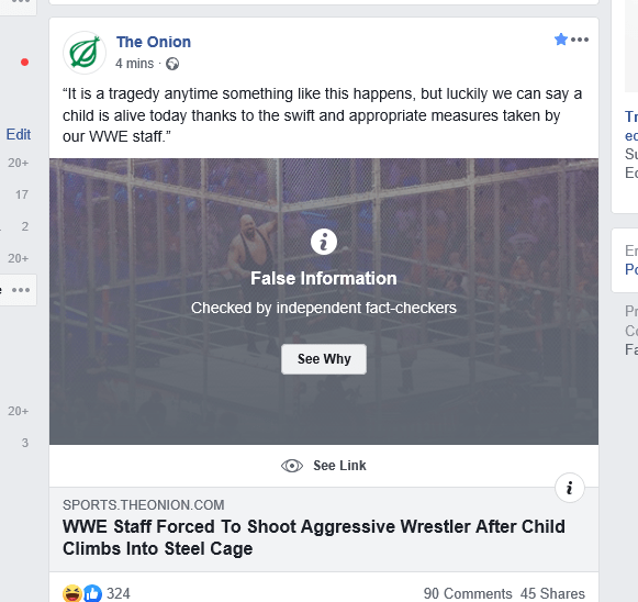 thanks fb for spotting fake news on onion